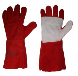 FORCE GLOVES LEATHER RED HEAT RESISTANCE WHITE LINER 35 cm